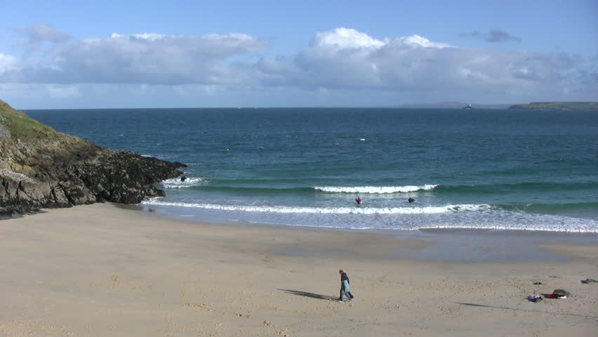Porthgwidden Beach, St. Ives, Cornwall UK. - HD stock footage clip