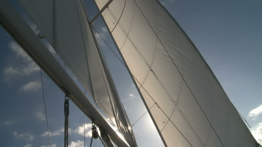 Sailing in good wind in the sails - HD stock footage clip