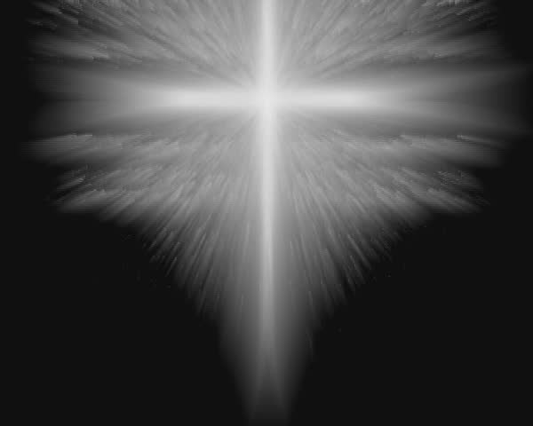 sharper render of beams coming from a glowing christian cross - SD stock footage clip