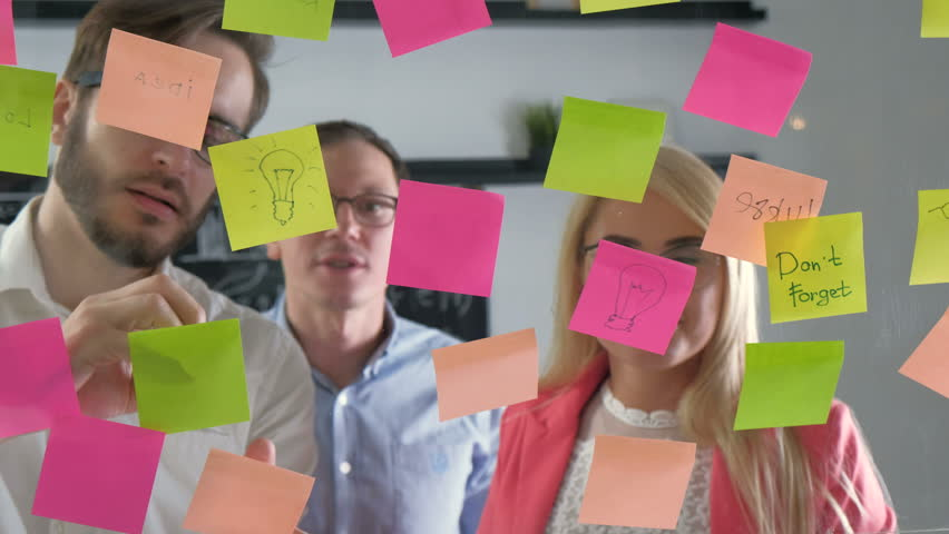 Note paper reminder schedule board. Business people meeting and use post it notes to share idea. Discussing - business, teamwork, concept 20s 4k | Shutterstock HD Video #27610165