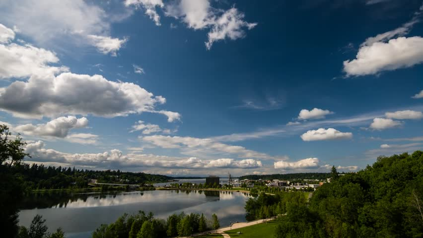 Time lapse video of clouds over Capital Lake and downtown Olympia Washington