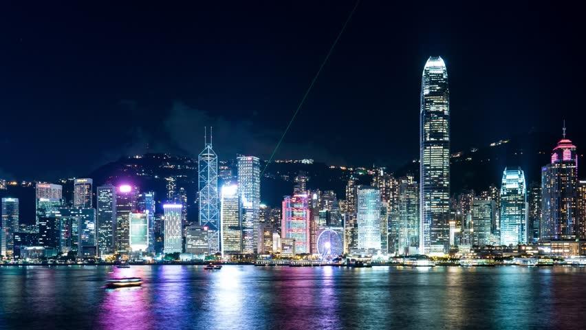 Victoria Harbor, Hong Kong, 26 May 2017 -:Victoria Harbor in Hong Kong at night | Shutterstock HD Video #27648388