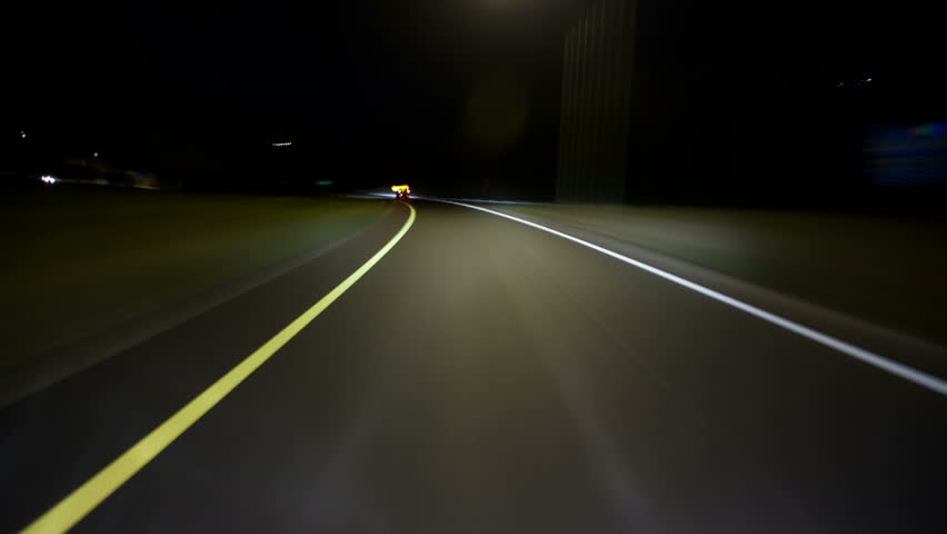 Exterior of Vehicle Hood Point of View Night Driving Time-Lapse Video