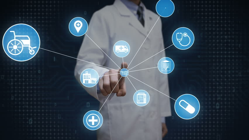 Doctor, Scientist touching screen, Various Health care technology icon connect global world map, dots makes world map. internet of things. | Shutterstock HD Video #27780634