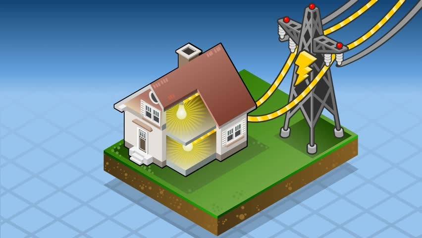 Power Meter Cartoon : Detailed animation of an isometric house with bio fuel