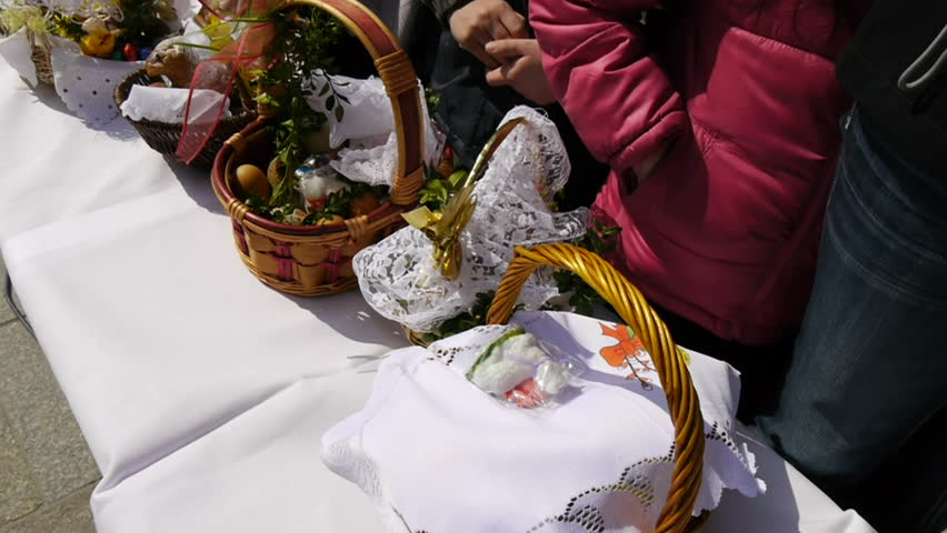 easter baskets ready for food blessing eastern european tradition steadicam slow motion footage  - HD stock video clip
