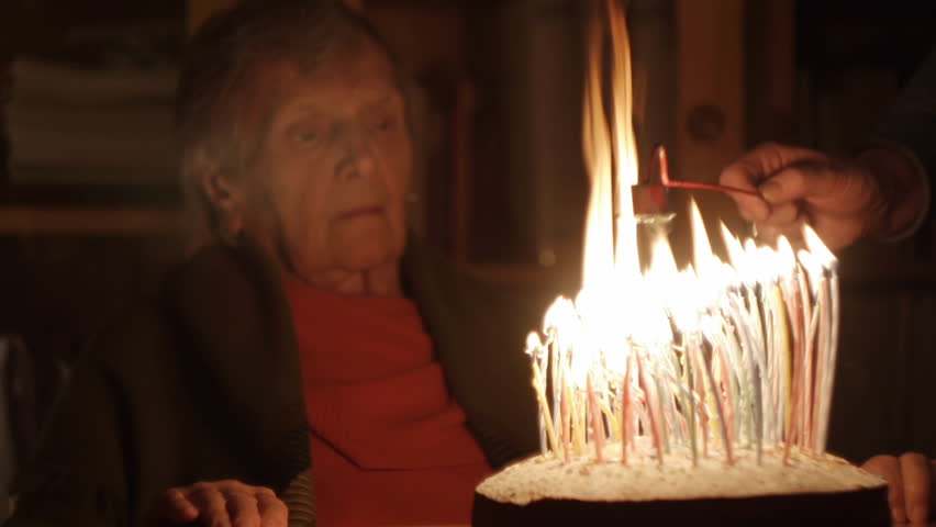 Happy Hundred Years Old Lady Blows 100 Candles In A Rush