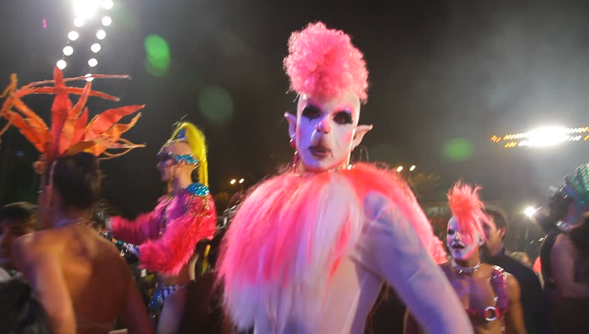 LAS PALMAS DE GRAN CANARIA, SPAIN - FEBRUARY 17: Participants in the Drag Queen competition perform with colorful costumes on February 17, 2012 in Las Palmas, Spain. - HD stock video clip