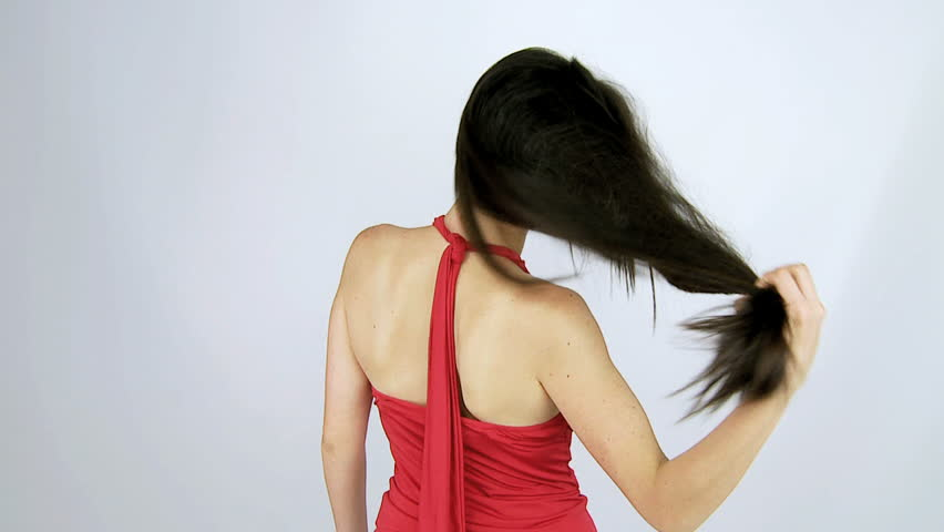 Beautiful woman moving long Gorgeous silky hair slow motion  - HD stock video clip