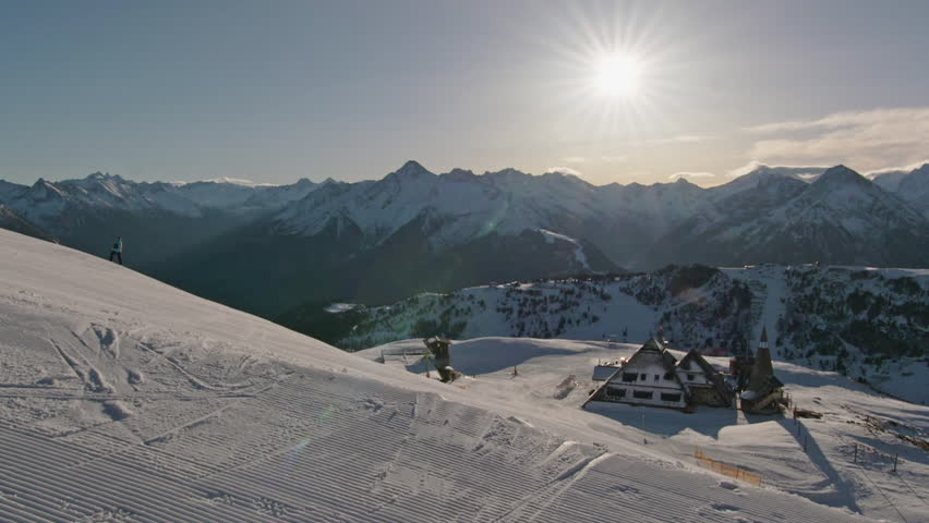 WS Ski slope with skiers and panoramic view of mountains / Tirol, Austria | Shutterstock HD Video #28001233