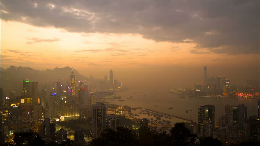 Night falls over Hong Kong - Central District, Victoria Harbor, Victoria Peak,