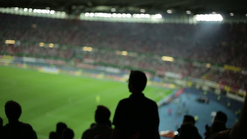 Soccer fans in stadium - HD stock footage clip