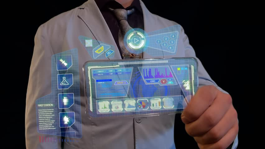 Man with a futuristic screen. The concept of the future interface on a transparent display | Shutterstock HD Video #28251829