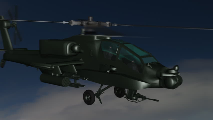 Boeing AH-64 Apache fly-by.