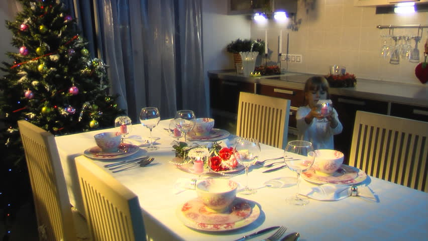 The little girl to lay the table - HD stock video clip