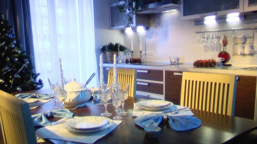Holiday table setting in a home. - HD stock footage clip