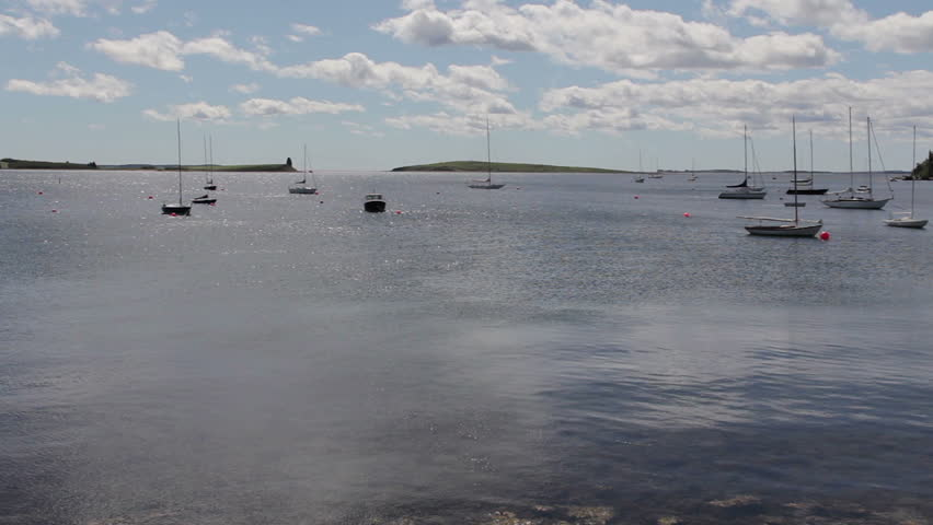 Boats on the water in Chester, Nova Scotia, Canada. - HD stock footage clip