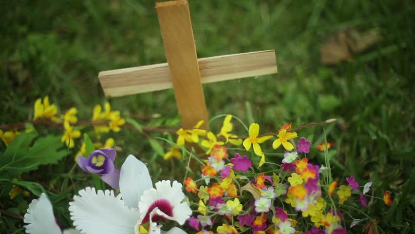 roadside memorial cross   - HD stock footage clip
