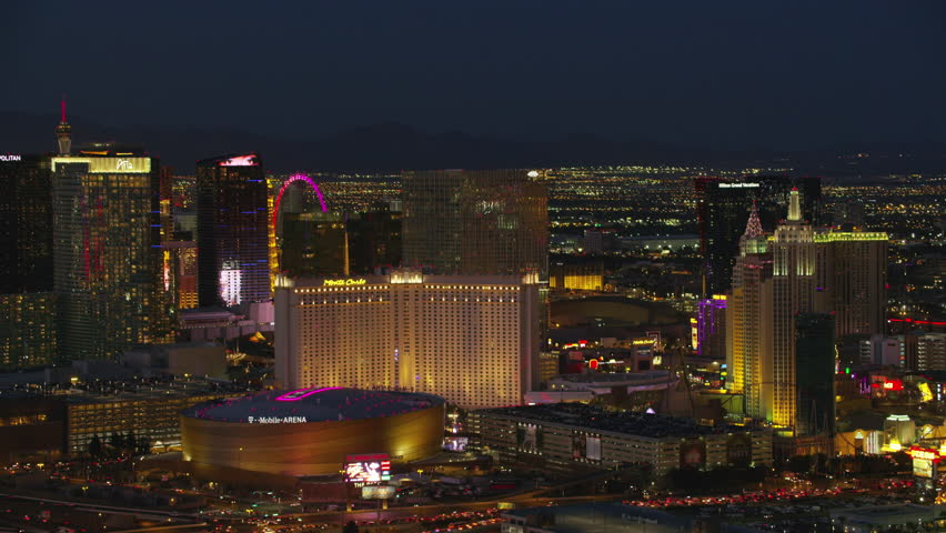 Las Vegas, Nevada circa-2107, Aerial view of T Mobile Arena and Las Vegas Strip. Shot with Cineflex and RED Epic-W Helium. | Shutterstock HD Video #28477396