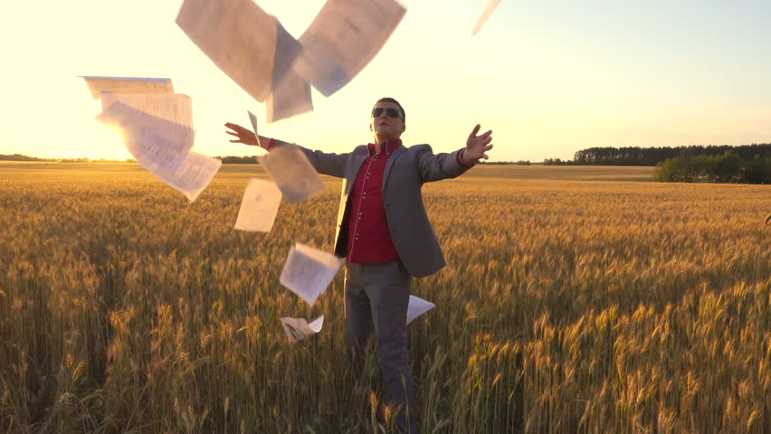 Rear view of a businessman in suit with a stack of documents going the wheat field and throwing up documents in slow motion. Backlight | Shutterstock HD Video #28552771