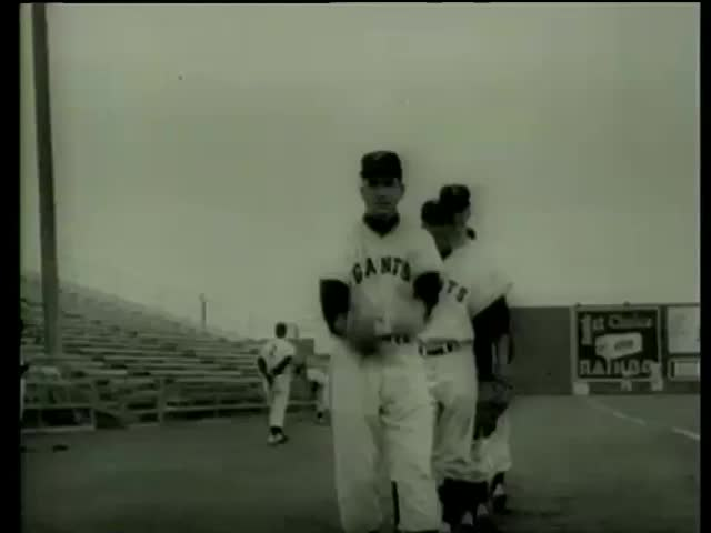 San Francisco Giants baseball pitchers Johnny Antonelli and Ruben Gomez warm up in Milwaukee County Stadium, Florida circa 1958-MGM PICTURES, UNIVERSAL-INTERNATIONAL NEWSREEL, USA, filmed in 1958 - SD stock video clip