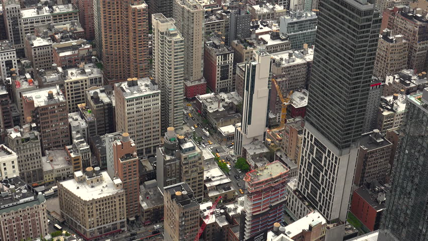 New York, USA - May 2017: View Manhattan skyline skyscrapers from Empire State Building, Manhattan, real time, UltraHd 4k   Shutterstock HD Video #28556110