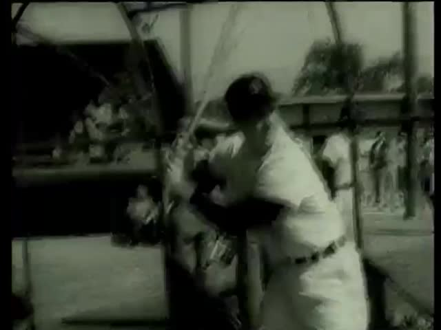 White Sox baseball players practice batting in Florida circa 1958-MGM PICTURES, UNIVERSAL-INTERNATIONAL NEWSREEL, USA, filmed in 1958 - SD stock footage clip