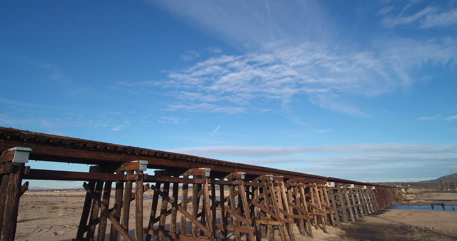 Aerial Drone footage of a train bridge over Mojave River | Shutterstock HD Video #28635526