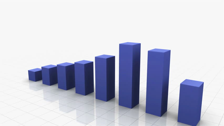 3D Growing Business Chart in Blue. Different variations of this file as well as many other business related animations available in my Contributor Gallery. - HD stock video clip