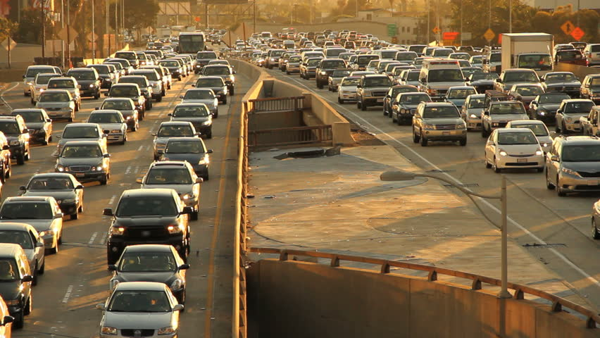 Epic Los Angeles Highway Traffic Jam at Rush Hour at Sunrise or Sunset.