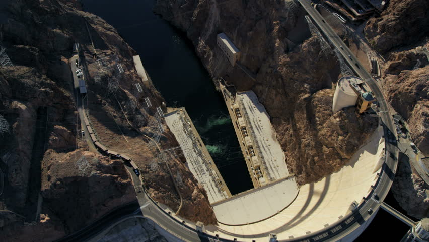 Aerial view Hoover Dam producing hydroelectricity Colorado River Bridge on US 93 near Las Vegas Nevada USA RED EPIC | Shutterstock HD Video #29009197