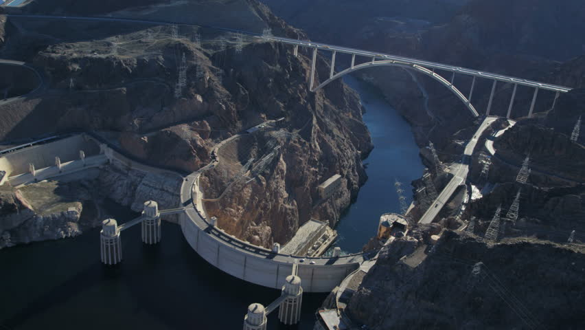 Aerial view Hoover Dam producing hydroelectricity Colorado River Bridge on US 93 near Las Vegas Nevada USA RED EPIC | Shutterstock HD Video #29009287