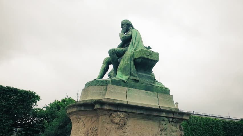 Hyper timelapse of Bronze Statue Jean Baptiste De Monet De Lamarck in The National Museum of Natural History park located in the Jardin des Plantes park in the 5th arrondissement of Paris | Shutterstock HD Video #29159173