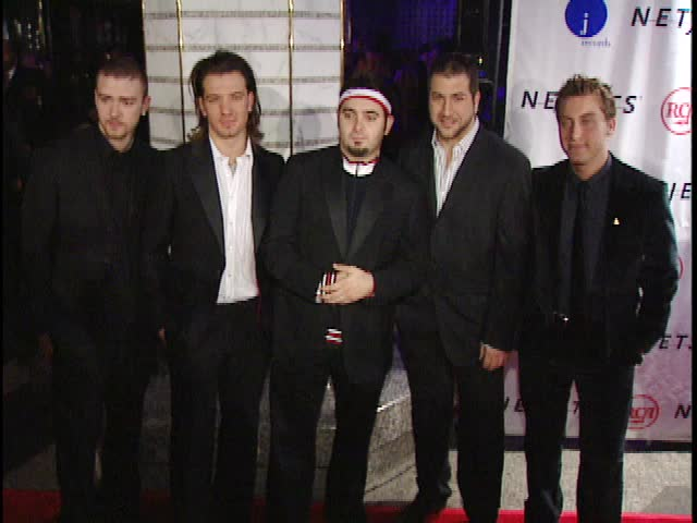 New York, NY - FEBRUARY 22, 2003: Justin Timberlake, JC Chasez, Chris Kirkpatrick, Joey Fatone, Lance Bass walk the red carpet at the Clive Davis Grammy Party 2003 held at the Regent Hotel Wall Street