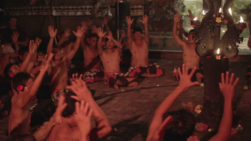 BALI - MAY 2012: kecak dancers and their performance on stage - HD stock footage clip