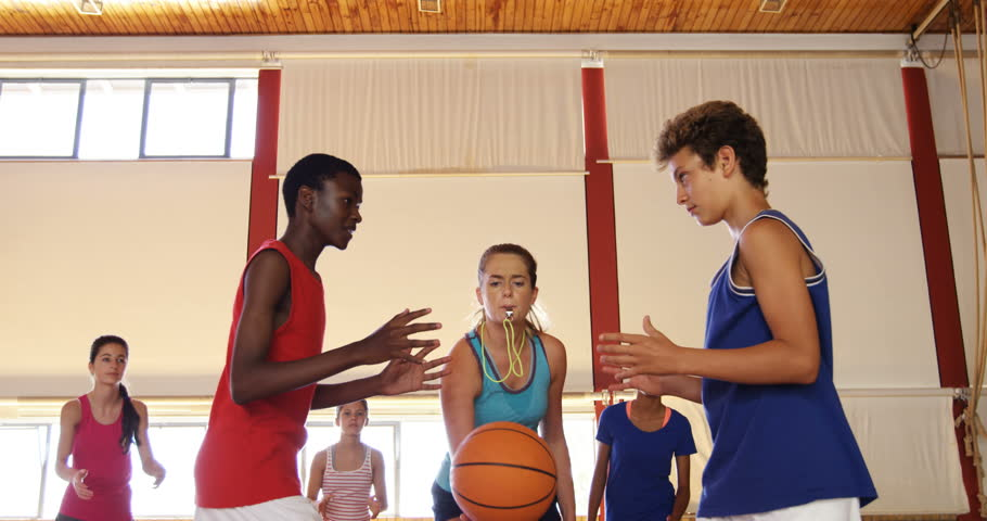 High school kids about to start playing basketball in the court | Shutterstock HD Video #29212210