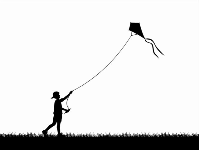Computer-generated silhouette animation depicting a boy flying a kite (concept: play or carefree) - SD stock video clip