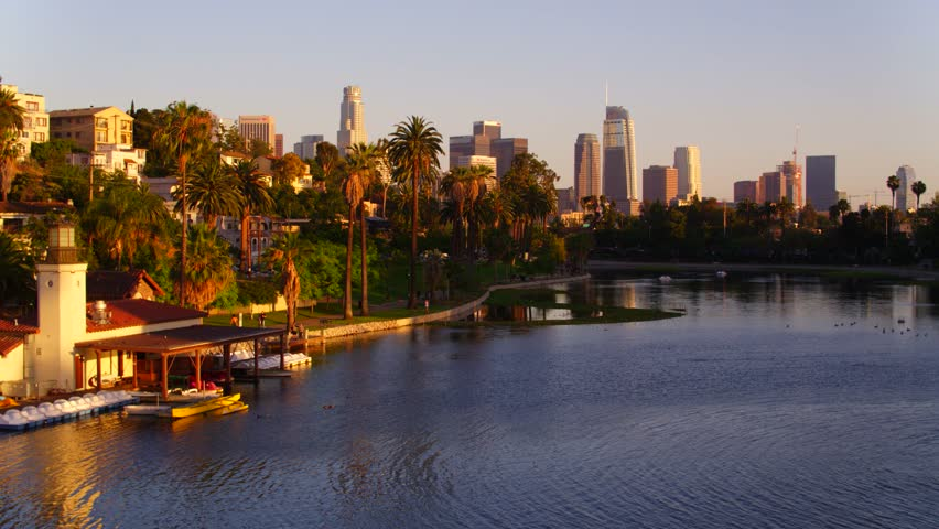 Echo Park with view of Downtown Los Angeles   Shutterstock HD Video #29228644