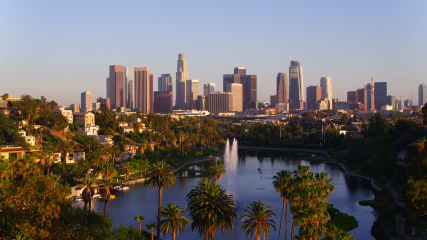 Echo Park Fountains with view of Downtown Los Angeles   Shutterstock HD Video #29228662