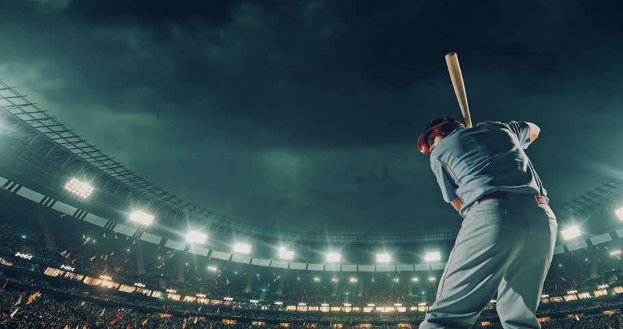 A male baseball player performs a dramatic play on the baseball stadium. He wears unbranded sport clothes. The stadium is made in 3D. | Shutterstock HD Video #29236888