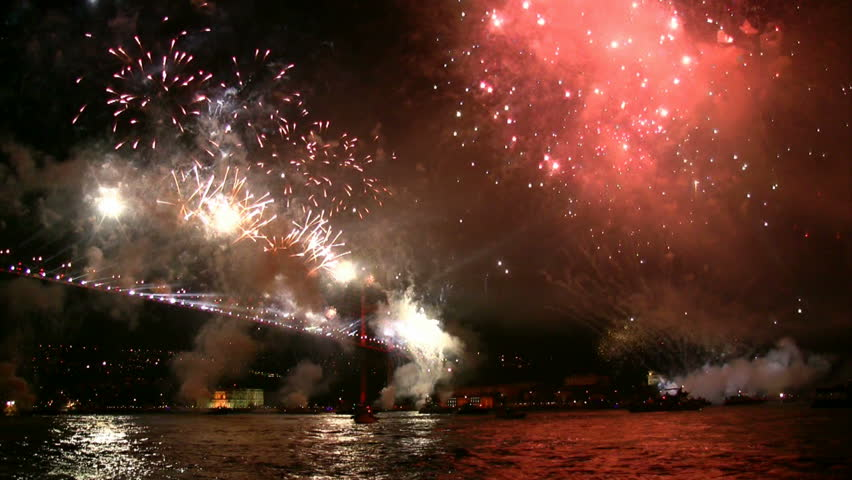 Firework exploding in the sky. - HD stock video clip