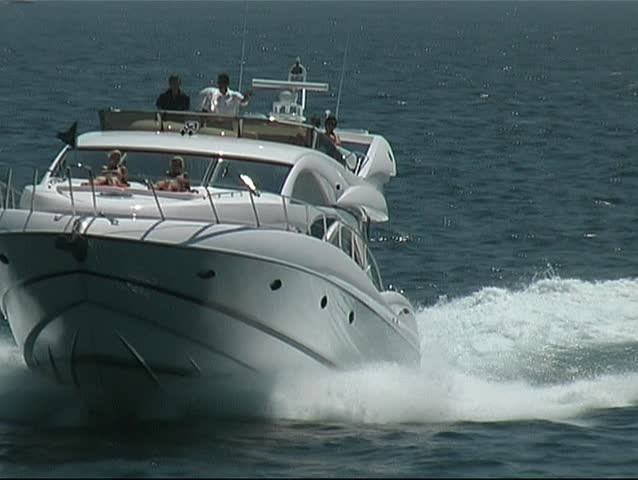 Motor yacht at the sailing grounds of the Mediterranean sea - SD stock footage clip