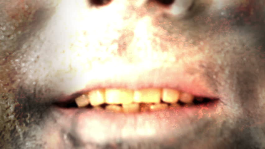Horror Mouth Zombie Scary  - HD stock footage clip