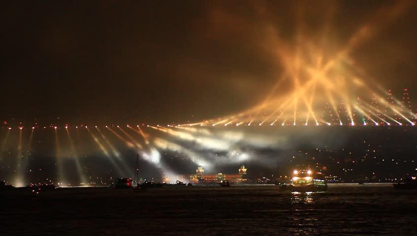 Running lights over Bosporus Bridge on October, 29 Festival Day in Istanbul,