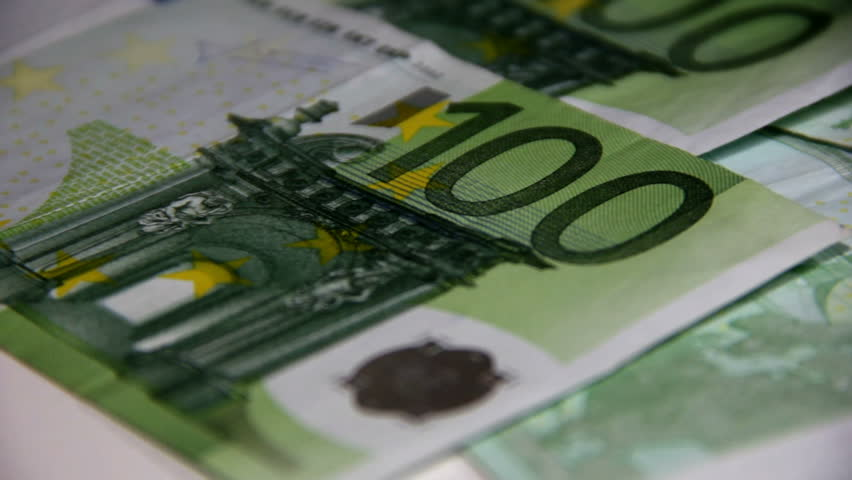 Counting money - big euro banknotes. Paying money or being payed. Europe banknotes freshly printed. - HD stock footage clip