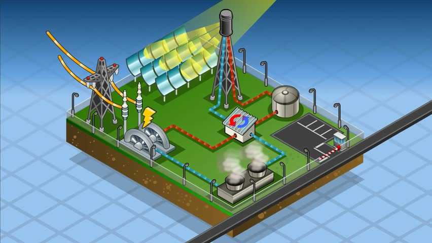 Isometric Termo Solar Plant In Production Of Energy Stock