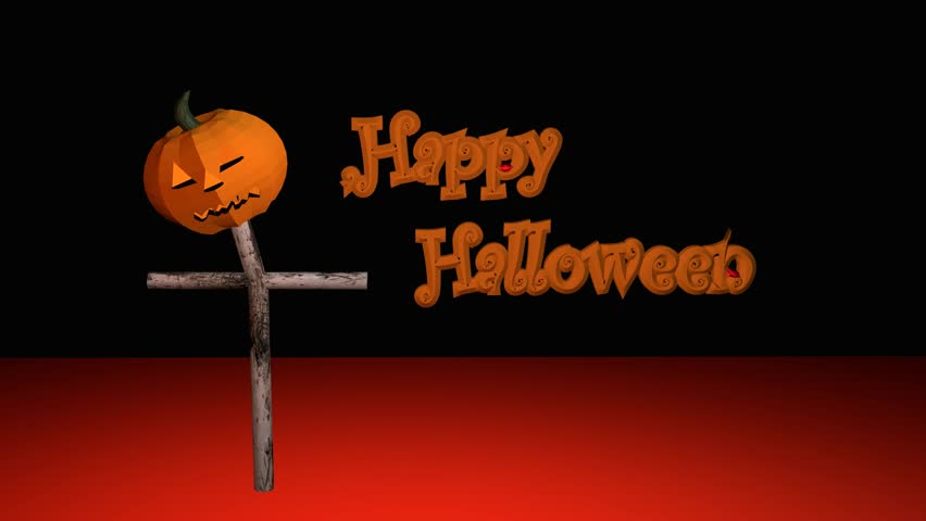 Happy Halloween text with flowing blood and a shining pumpkin lantern with black background   Shutterstock HD Video #29741878