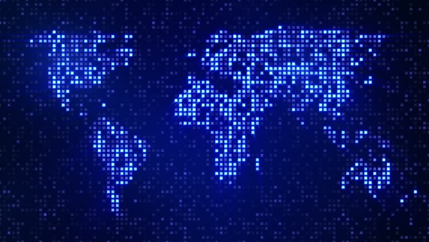 Digital Blue World Map Loop Stock Footage Video 2975536