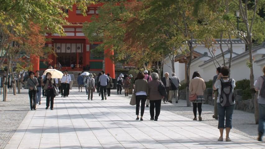 KYOTO, JAPAN - CIRCA 2012: Fushimi Inari Temple entrance circa 2012 in Kyoto, Japan. - HD stock footage clip