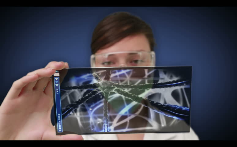 Scientist scrolling through interactive holographic menu of human body interior - HD stock footage clip